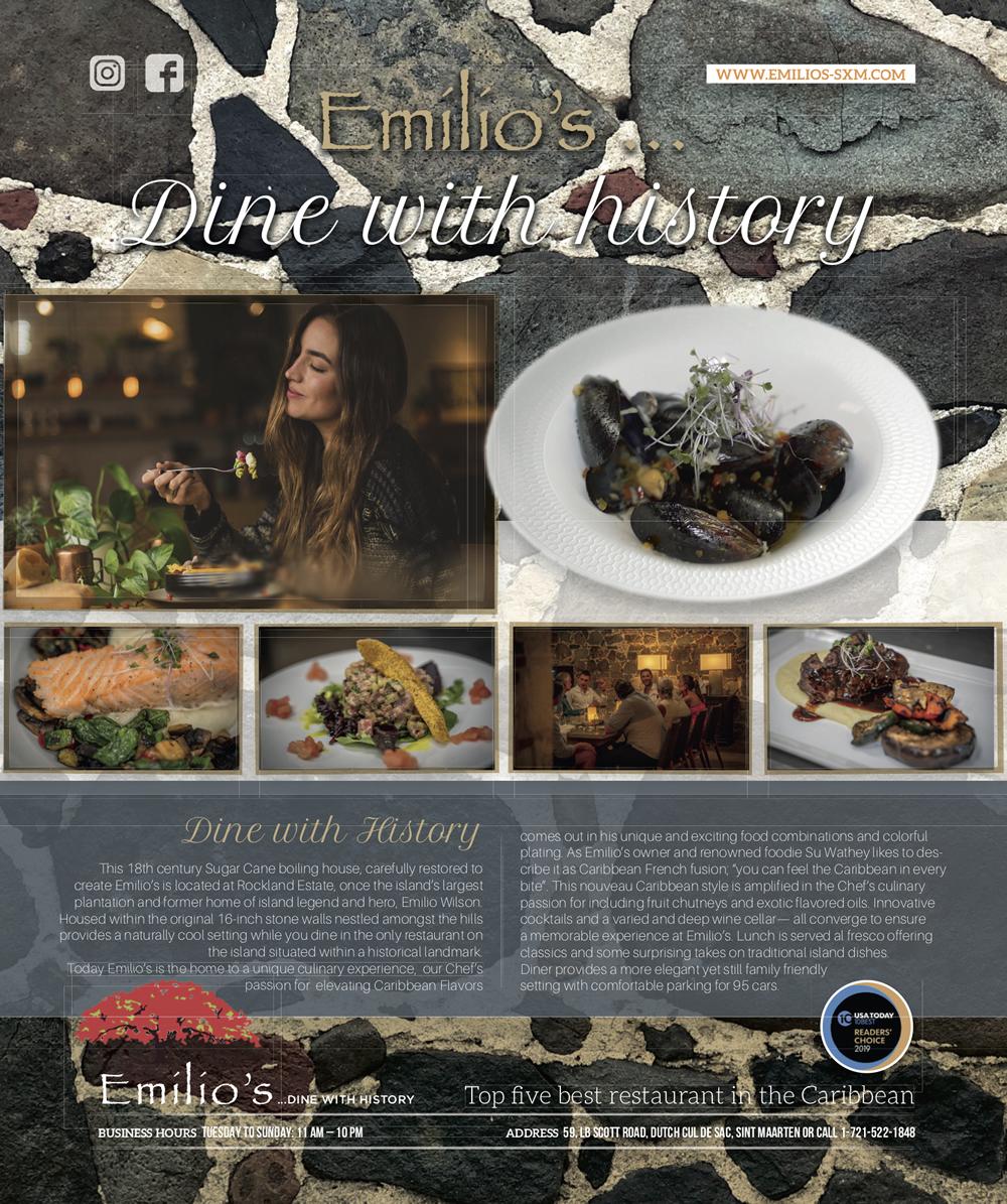 Emilio's est une expérience gastronomique mettant en vedette le meilleur des plats internationaux et des Caraïbes - Sint Maarten